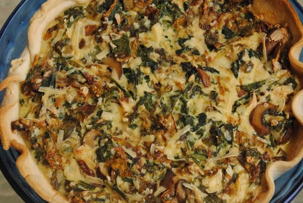 Arugula, Kale, and Mushroom Quiche - for FC this week