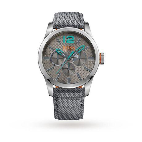For Him - Hugo Boss Orange Paris Gray Fabric Strap Watch 1513379 - 1513379