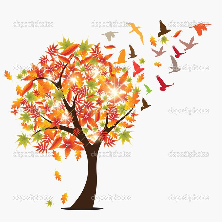 Fond d'illustration de vecteur autumun concept saisonnier avec la chute des feuilles, les rayons du soleil et les oiseaux qui volent