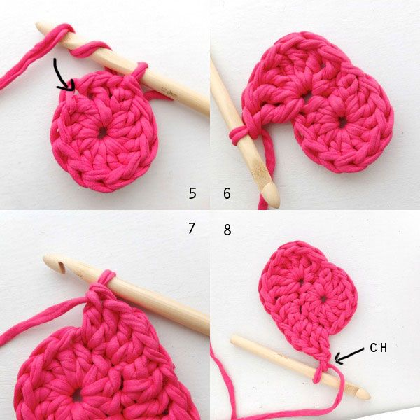 Heart shaped crochet basket base second round