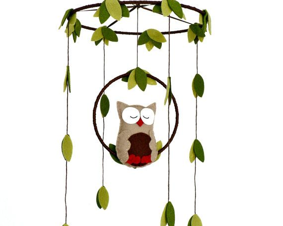 Owl mobile  woodland  Nursery baby mobile  You by LullabyMobiles, $65.00