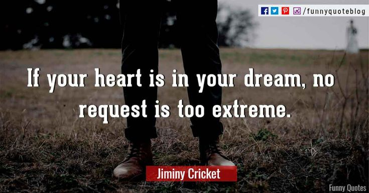 If your heart is in your dream, no request is too extreme. ― Jiminy Cricket Quote