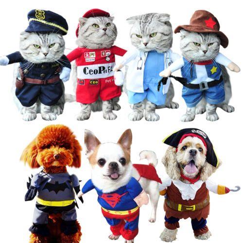 Pet Dog Cat Costume Suit Clothes Costumes Superhero Police Party Halloween Dress   eBay