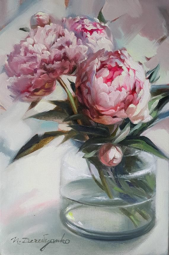 Peonies in vase oil painting on canvas, Flowers blossom peony wall art, Valentine's day gift for women