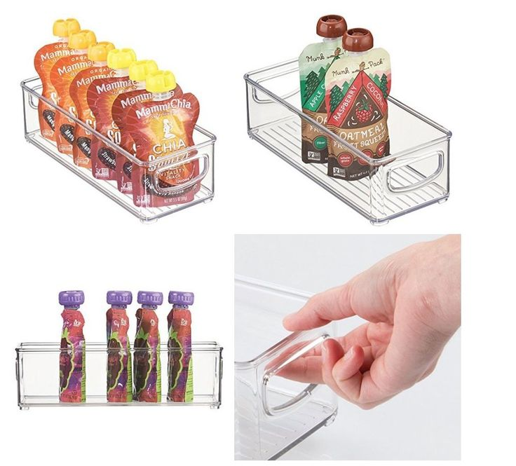 "Kitchen Food Storage Organizer Bin Condiment Dressing Pouches 10""/4""/3"" Clear #MetroDecor"