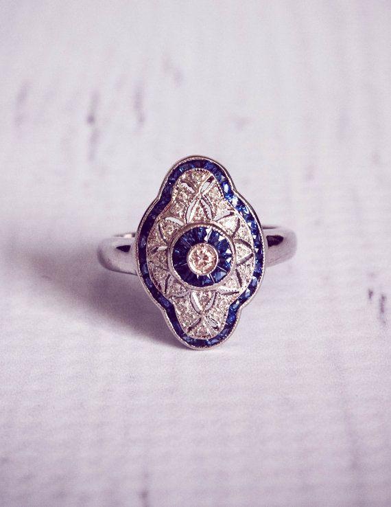 1920's Style Sapphire & Diamond Engagement Ring