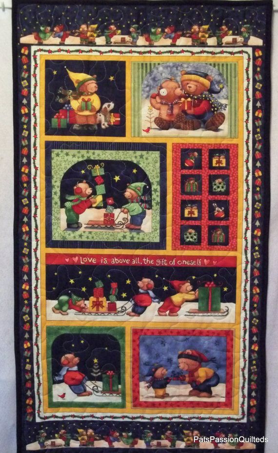 Christmas Bears Quilted Wall Hanging or by PatsPassionQuilteds