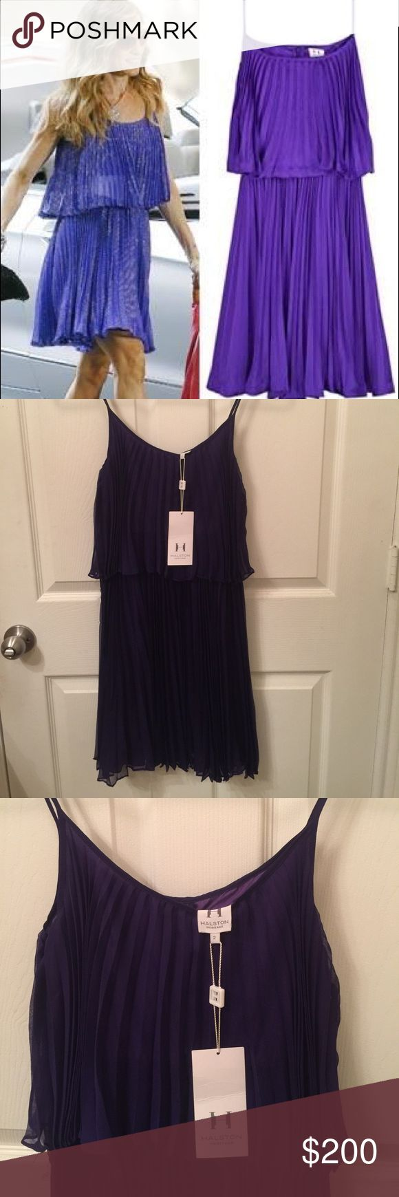NWT - Halston Pleat dresss Just like the one Carrie Bradshaw had except this is non-metallic. The purple is brighter in daylight. Halston Heritage Dresses