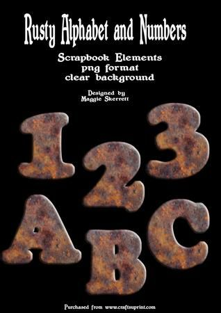 Rusty Alphabet and Numbers on Craftsuprint - Add To Basket!