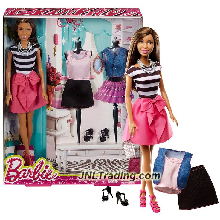 Mattel Year 2014 Barbie Life in the Dreamhouse 12 Inch Doll - NIKKI CMM03 in Stripes Tops and Pink Skirt with Purse, Vest Extra Tops, Skirt and Shoes