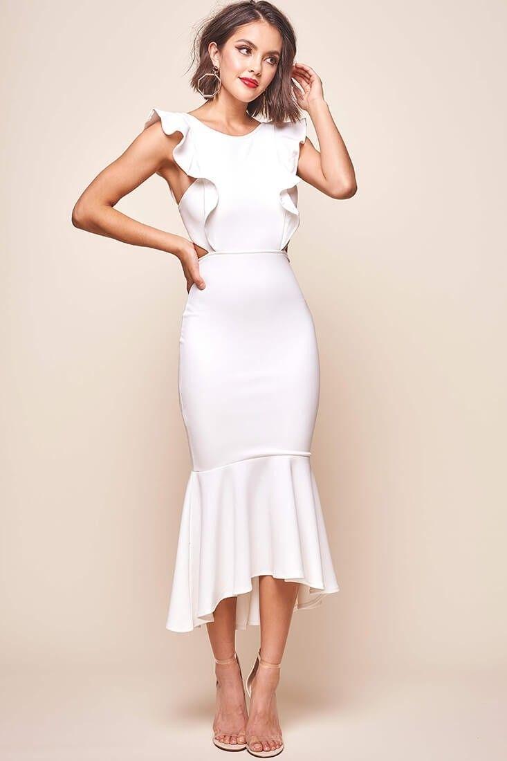 b51ed7bbe086 Shop the Jackie Wide Ruffle Hem Pinafore Midi Dress White | Selfie Leslie