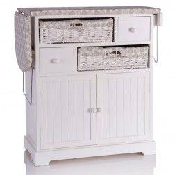 Mueble plancha madera blanco muebles para planchar en - Mueble para guardar tabla de planchar ...