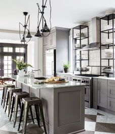 Kitchen interior: Industrial bistro  | WANT this black shelving when the kitchen is redone. Or brass. And lighting. And a new kitchen.... OH PLEASE HURRY!!!