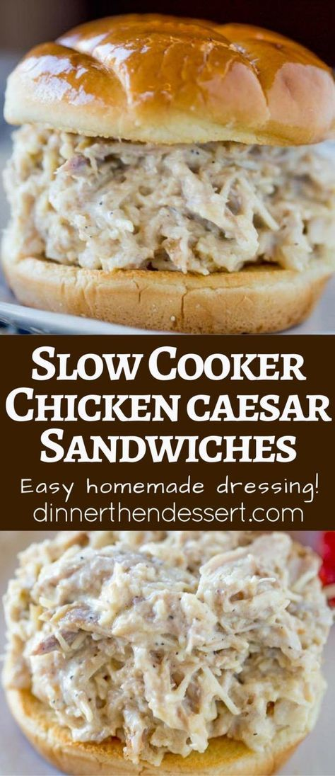 Slow Cooker Chicken Caesar Sandwiches on a hamburger roll and with just a few minutes of prep.