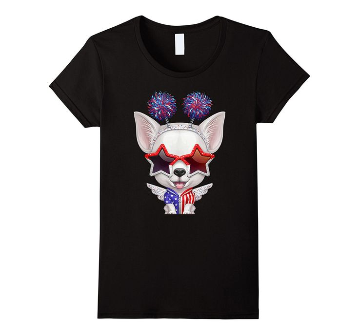 White Short-Haired Chihuahua Independence Day T-shirt