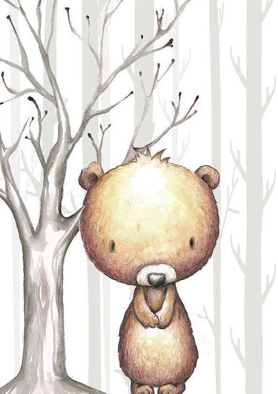 Wald Tiere Kinderzimmer Dekor Drucke Set von 4, Geschlecht Neutral Wald Animal-Prints, Wald Kindergarten Drucke, Waldtiere Wand Kunst