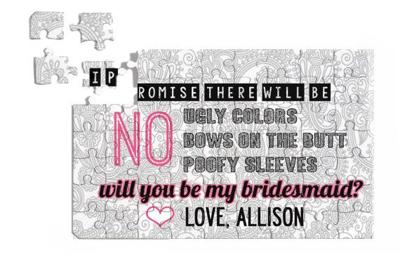 Puzzle Gift Will You Be My BRIDESMAID? Personalized Puzzle FUNNY Gray Damask 7x5 63 pieces Great Gift Free Customization