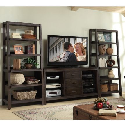 84537-84541-KIT Riverside Entertainment Wall Unit. Could use this idea to put ladder shelves flanking a smaller entertainment unit.