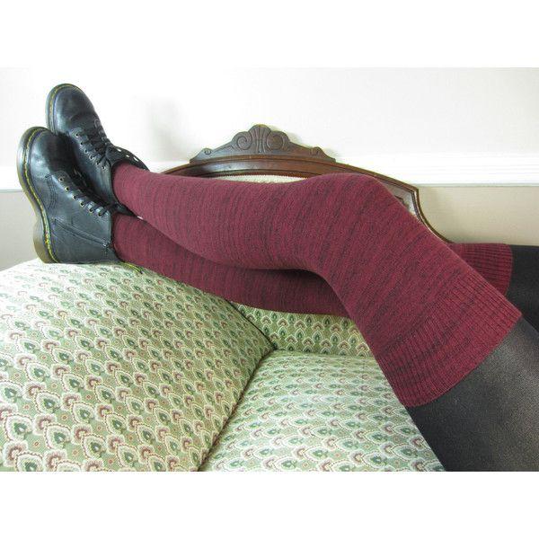 Women's Leg Warmers Over the Knee Thigh High Socks Burgundy Black... ($32) ❤ liked on Polyvore featuring intimates, hosiery, socks, boot socks & cuffs, grey, women's clothing, stripe thigh high socks, long thigh high socks, thigh high leg warmers and thigh-high socks