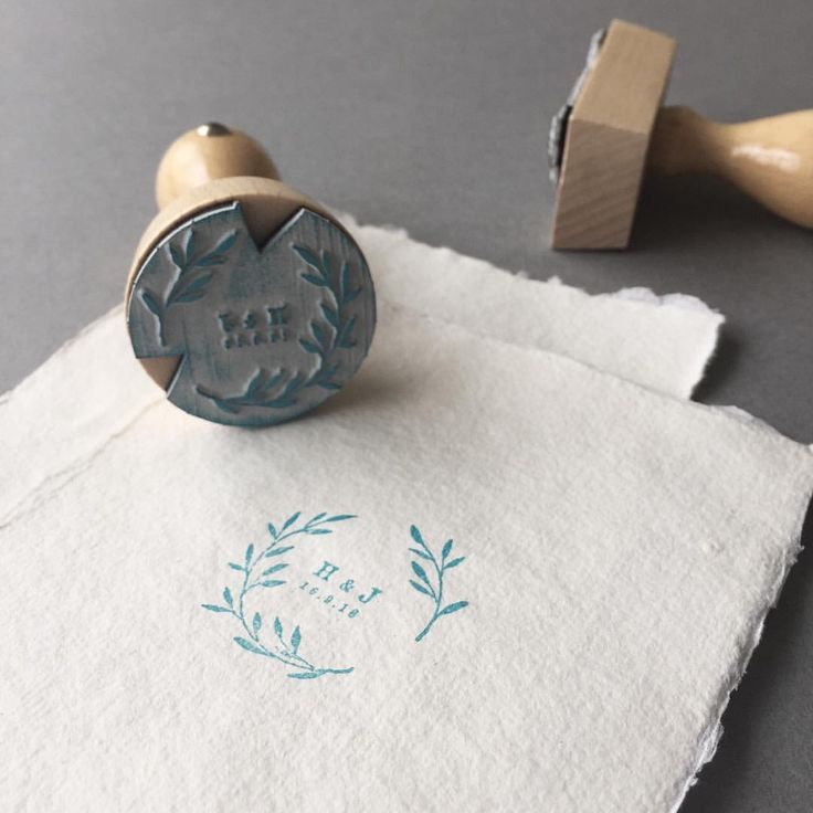 Botanical wedding logo available as a digital file and now as a rubber stamp.