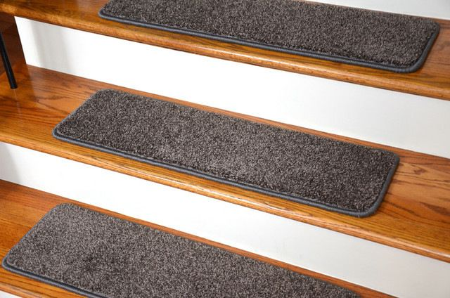 Tape Free Non-Slip Carpet Stair Treads, Set of 15, Smokey Hill Gray contemporary-stair-tread-rugs