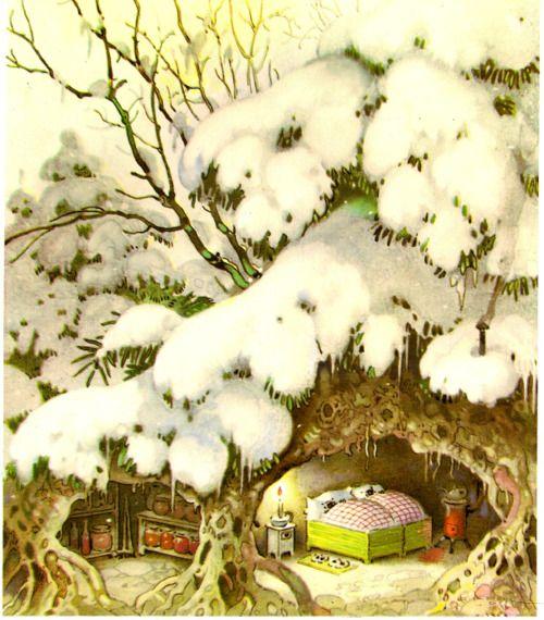 Cozy in the snow, Fritz Baumgarten.