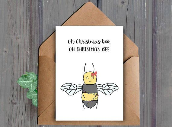 Oh Christmas bee, Oh Christmas bee A printable Christmas card This listing is for a DIGITAL DOWNLOAD of the above card. (No physical item will be shipped to you)  ★ WHAT YOU WILL RECEIVE: ★ You will receive the following two files (one JPEG and one PDF):  -One high resolution (300 dpi) 8.5x11 inch JPEG file that cuts to 10x7 inches and 5x7 inches when folded (fits into an A7 envelope)  -One high resolution (300 dpi) 8.5x11 inch PDF file that cuts to 10x7 inches and 5x7 inches when folded…