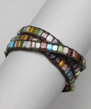 Brown Beaded Wrap Bracelet by angeline