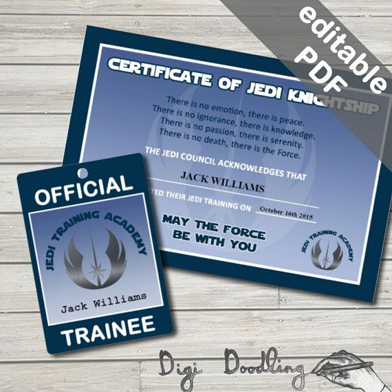 Jedi Training Certificate and Pass. Star Wars by DigiDoodling