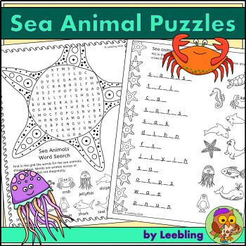 Sea Animal Puzzle Activities – Ocean Animal Crossword, Word Search and more