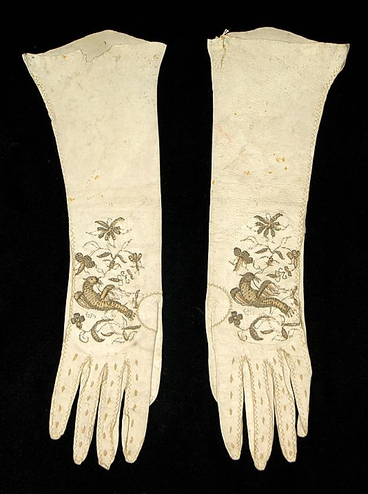 Gloves    Date:      early 18th century  Culture:      British  Medium:      Leather, metallic