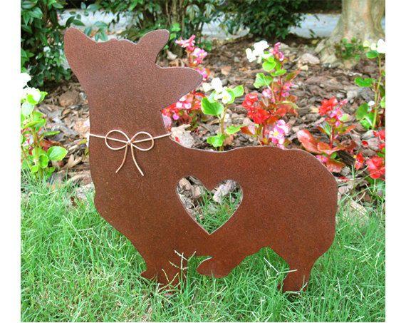 Corgi Dog Metal Garden Stake Metal Yard Art By Georgiametalart, $39.99