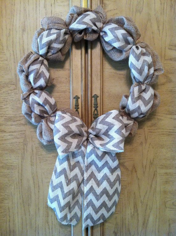 Burlap Wreath with Chevron Ribbon and Bow