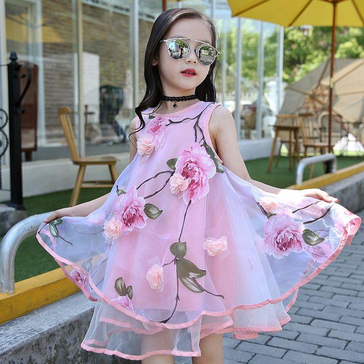 2017 de la rodilla del estilo del verano de las muchachas de los niños de la manera de la flor del cordón de los vestidos de partido del vestido de bola de alta vestido sin mangas de los niños del bebé ropa infantil