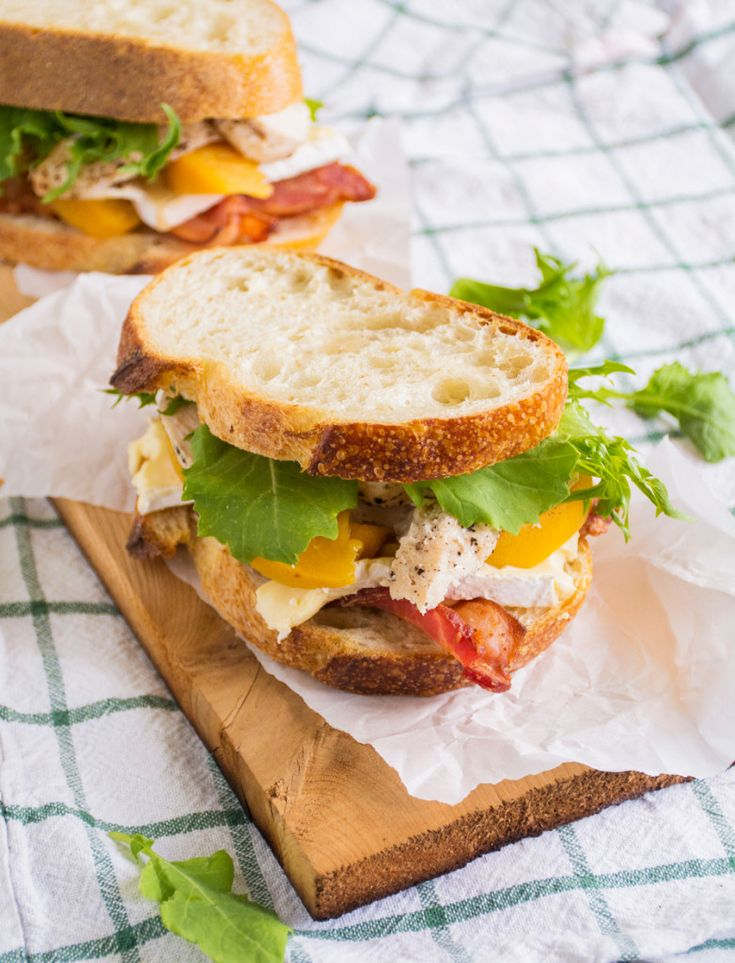 Roast Chicken Club with Bacon, Peaches & Brie
