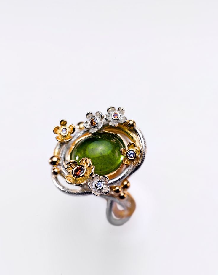Spring. Green tourmaline. Unique piece handmade, silver and gold, flowers and diamonds.
