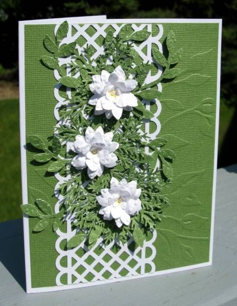 Embossed paper used for white flower and leaves..... LOVE IT!    Stunning with the dark color and white flowers
