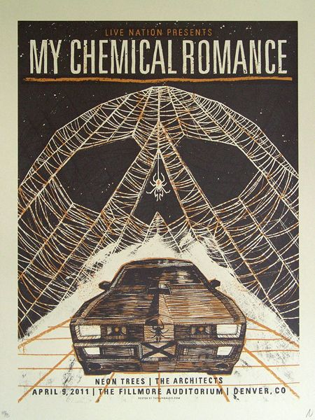 My Chemical Romance + Neon Trees + The Architects gig poster by John Vogl http://jungleindierock.tumblr.com/post/72768458895/john-vogl-posters