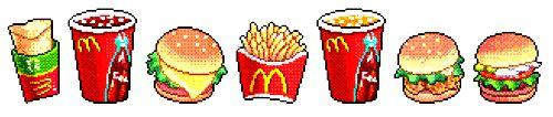 McDonald's Pixel Food!   http://enjoythebits.com/post/93724142702/mcdonalds-pixel-food-im-lovin-it-for-clips#.U-70KLxdVK4
