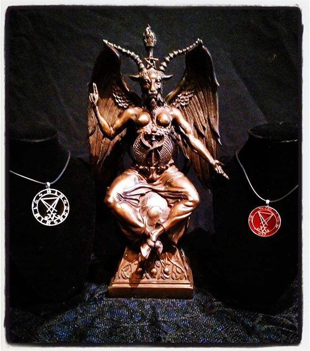 "We currently have Cold Cast Bronze Baphomet busts in 15"" size, as well as a wide variety of sigils, symbols and various necklaces and pendants such as the Lucifer Nephillim sigil and Lucifer Ashtar of the Fallen. For further details, visit www.luciferianapotheca.com #occult #michaelwford #luciferianapotheca #baphomet #Luciferashtarofthefallen #Satanism #blackmagic #Satan #goat #chaosmagick #lucifersigil"