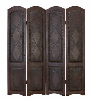 Elegant Argyle Embossed Leather and Wood Folding Screen - Panel Room Dividers