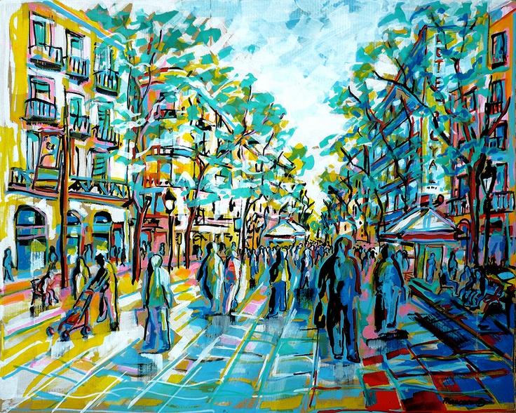 """Rambles - Barcelona"" (57x70 cm.) ·   Francesc Palomas"