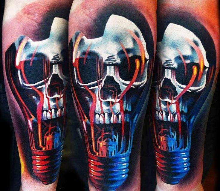 Light bulb skull tattoo by A D Pancho