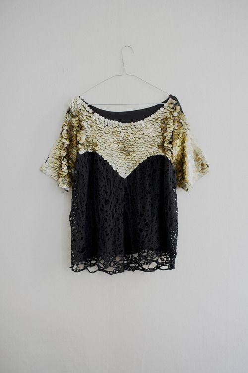 Gold sequins + black lace
