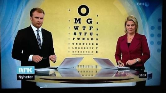 Whoever found the graphic for your newscast needs an award!Funny Things, Funny Sh Ttt, Eye Charts, Funny Stuff, Eye Candies, Random Stuff, News Broadcast, Norwegian Eye, Norwegian Newscast