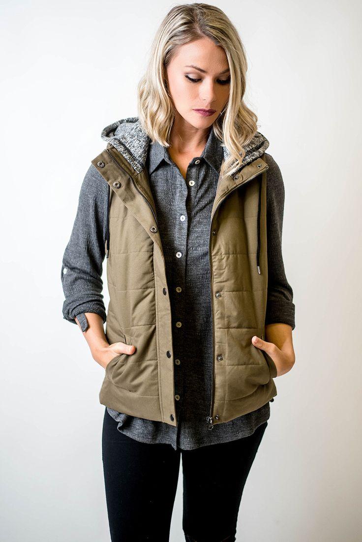 Olive Grey Hood Utility Vest