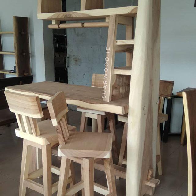 Wooden Bar Sets From Suar Wood Perfect Furniture For Your Bar Room Wine Rack Bar Table Ship Worldwide Kirim Seluruh Kitchen Bar Cool Kitchens Bar Room