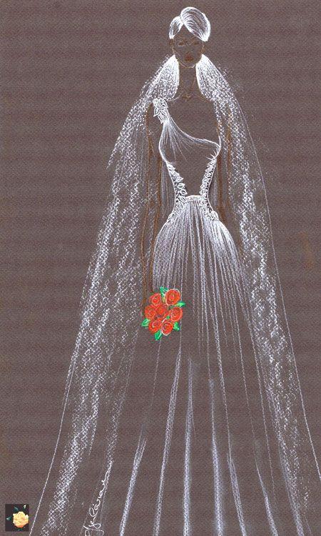 Traje de novia en chiffón con pedreria plata