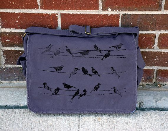 Birds and Power Lines - Cotton Canvas Messenger Bag - Navy - Brown - Khaki Green Available