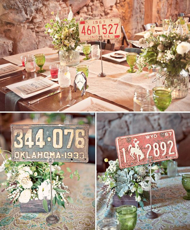 License plate centerpieces - Country Western Wedding: Jamie + Scott by  Ashley Maxwell Photography - via greenweddingshoes